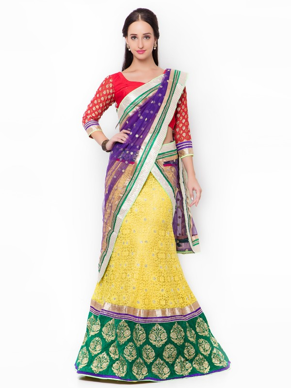Soft Premium Net Party Wear Lehenga In Yellow WIth Embroidery & Crystal Work