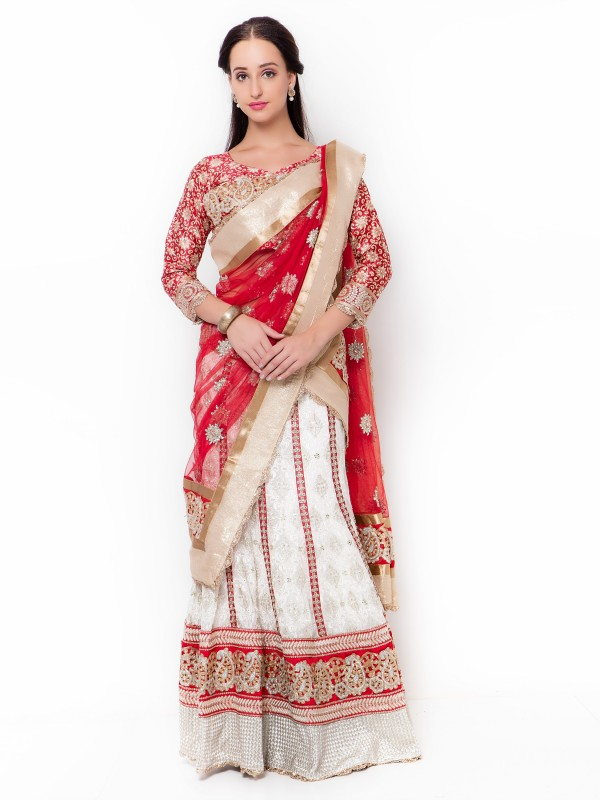 Pure Georgette Party Wear Lehenga In White WIth Embroidery Work