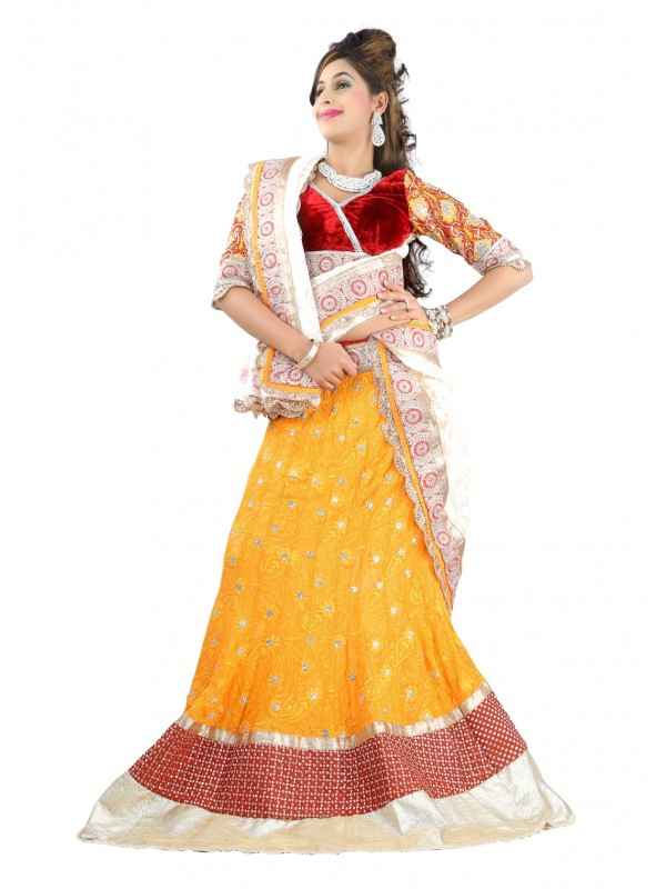 Pure Georgette Party Wear Lehenga In Yellow WIth Embroidery Work