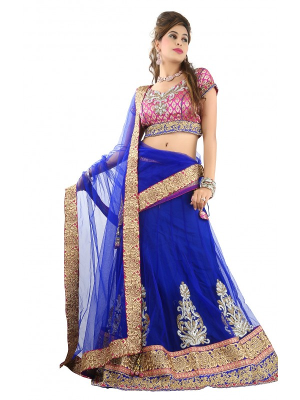 Pure Premium Net Party Wear Lehenga In Blue WIth Embroidery Work & Crystal Stoe