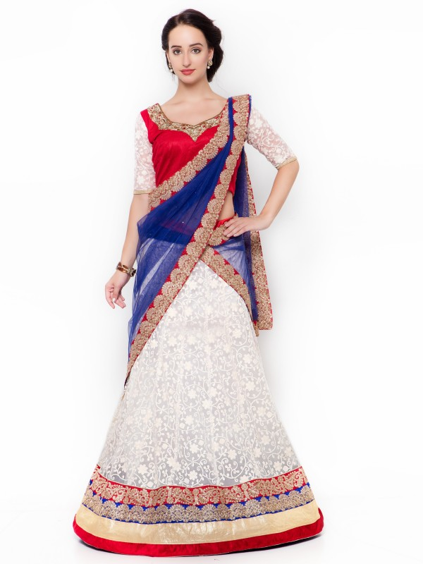 Soft Premium Net Party Wear Lehenga In Off White WIth Embroidery Work & Crystal Stoe