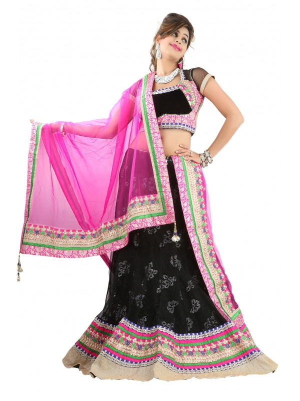 Soft Premium Net Wear Lehenga In Black WIth Embroidery Work