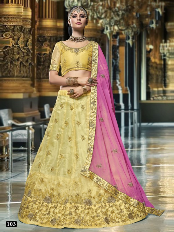 Silk Party Wear Lehenga In Yellow With Embroidery & Stone Work