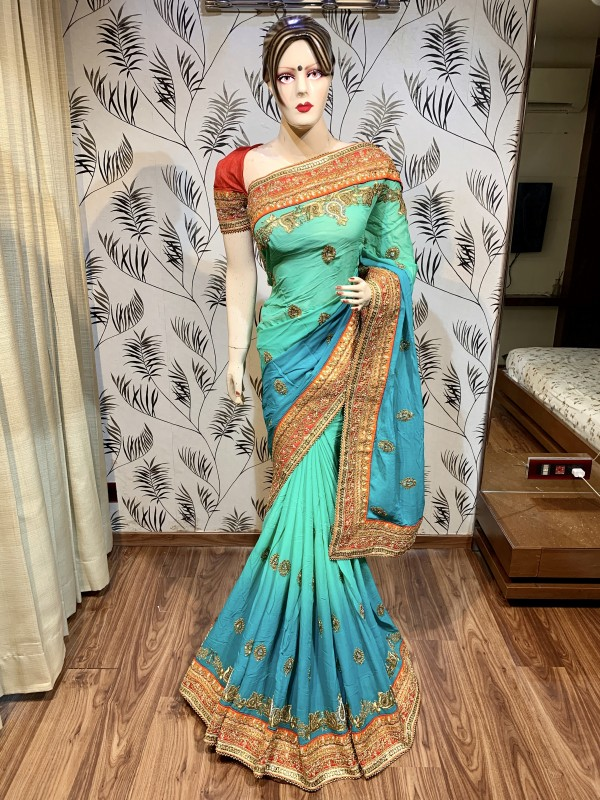Pure Georgette Wedding Wear Saree In Pastel Green In Embroidery & Crystal Stone work