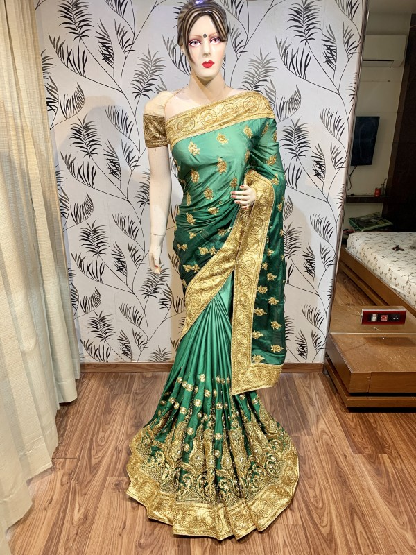 Pure Heritage Silk Wedding Wear Saree In Green In Embroidery & Crystal Stone work