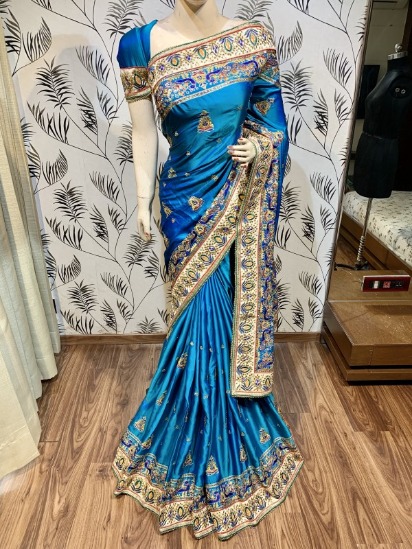 Pure Heritage Silk Wedding Wear Saree In Blue In Embroidery & Crystal Stone work