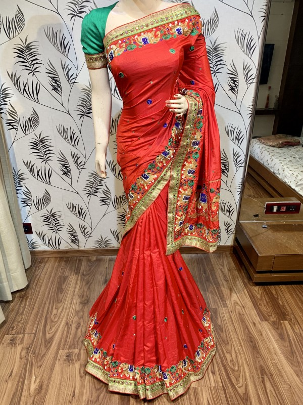 Cambridge Silk Party Wear Saree In Red Embroidery Work & crystal Stone Work