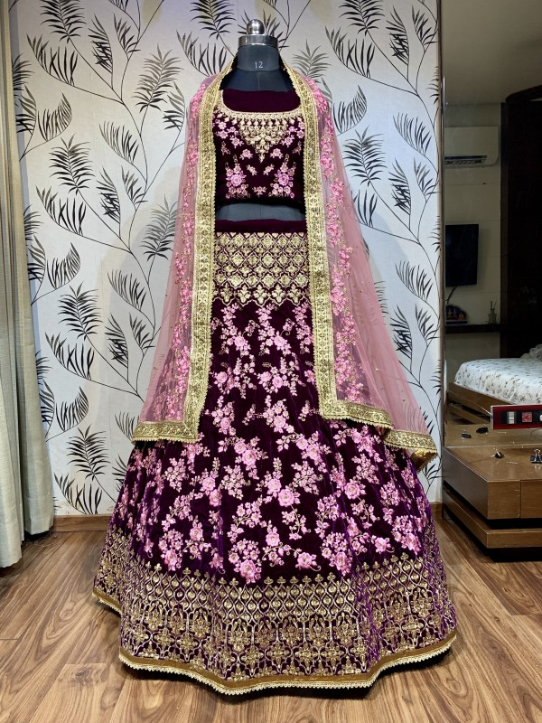 Pure Micro Velvet Wedding Lehenga In Purple With Stone Work