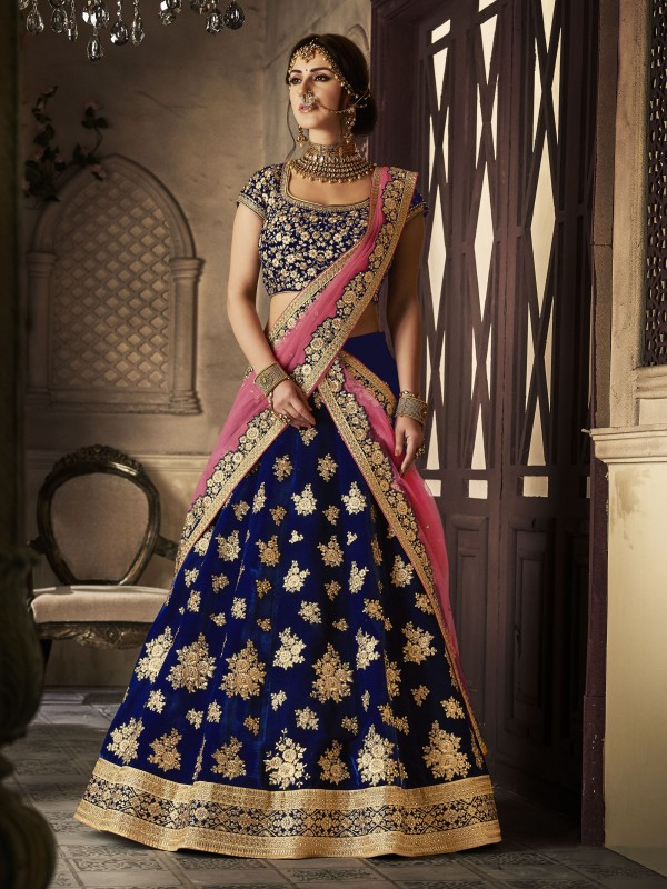 Pure Micro Velvet Wedding Lehenga In Blue With Stone Work