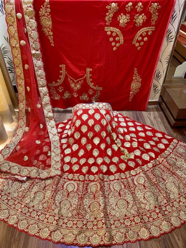 Pure Micro Velvet Wedding Lehenga In Red With Stone Work
