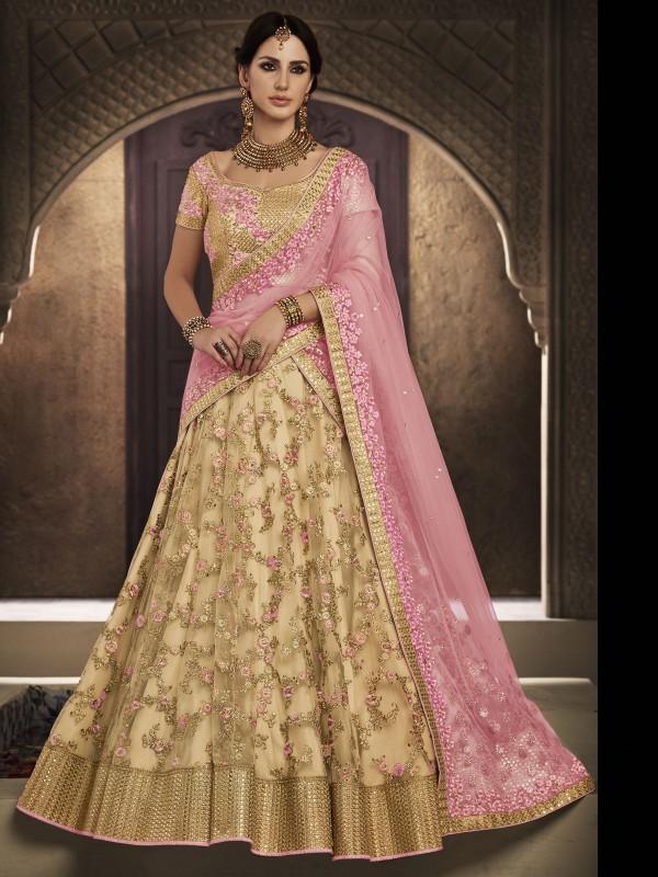 Soft Premium Net Wedding Lehenga In Golden With Jari & Stone Work