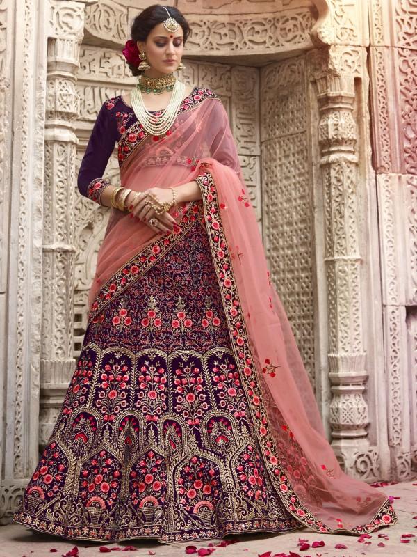 Pure Satin Silk Wedding Wear Lehenga In Violet With Stone Work