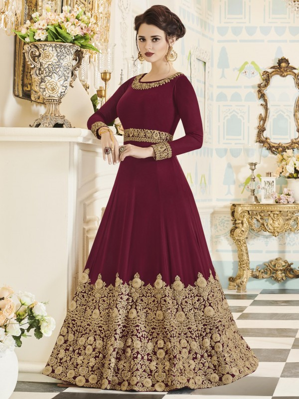 Georgette Party Wear In Red and Maroon With Thread Work