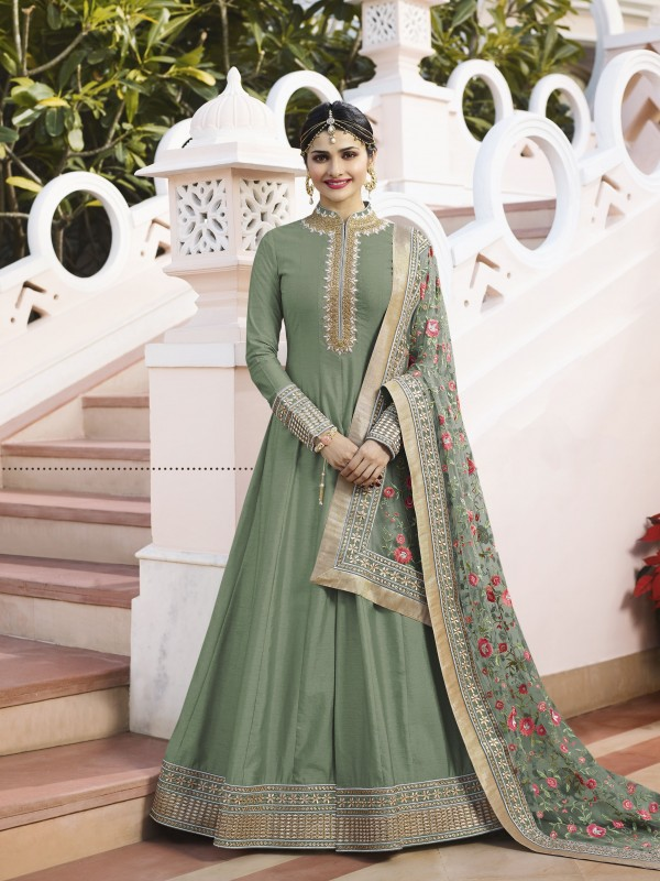 Lenin Silk Party Wear Gown In Green Color With Stone Work