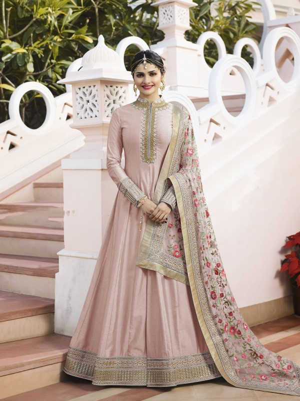 Lenin Silk Party Wear Gown In Pink Color With Stone Work