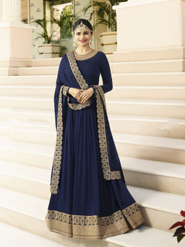 Georgette Casual Wear Gown In Blue With Thread Work