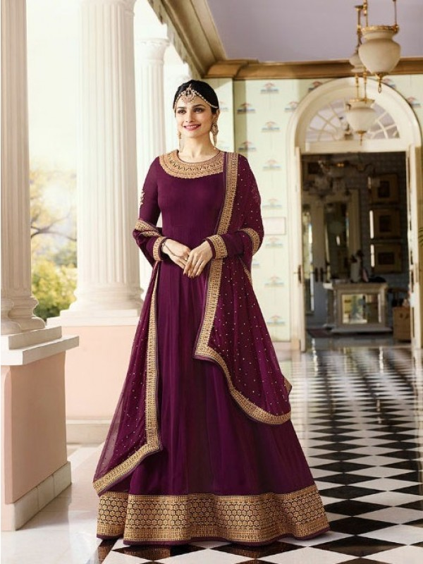 Georgette Casual Wear Gown In Burgundy Color With Embroidery With Stone Work