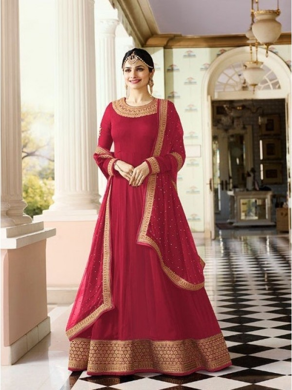 Georgette Casual Wear Gown In Red Color With Embroidery With Stone Work