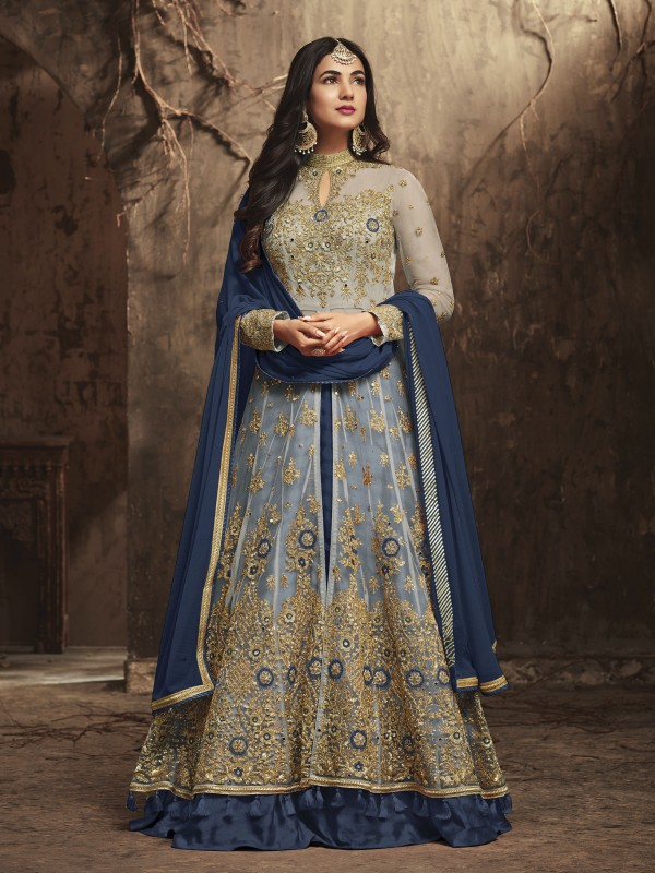 Soft Premium Net Wedding wear Gown In Blue With Stone Work
