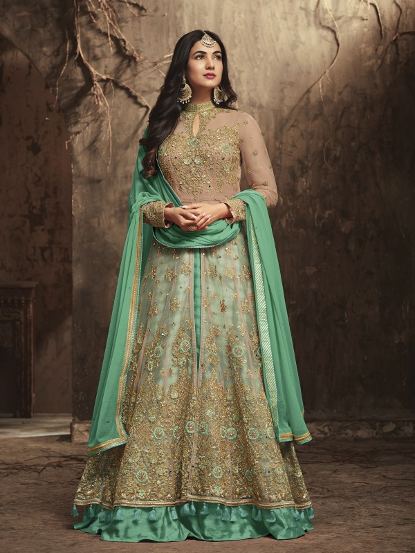 Soft Premium Net Wedding Wear Gown In Green With Stone Work