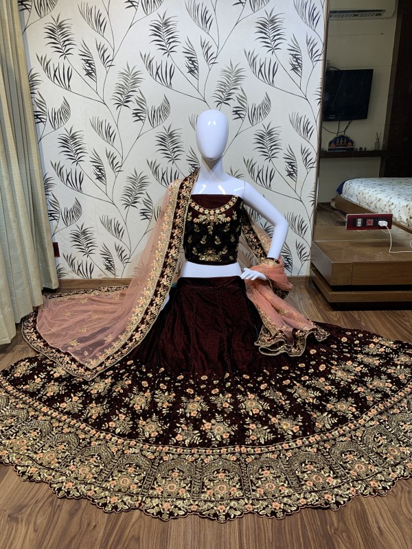Pure Micro Velvet Mehendi Sangeet Lehenga In Maroon With Crystal Stone Work