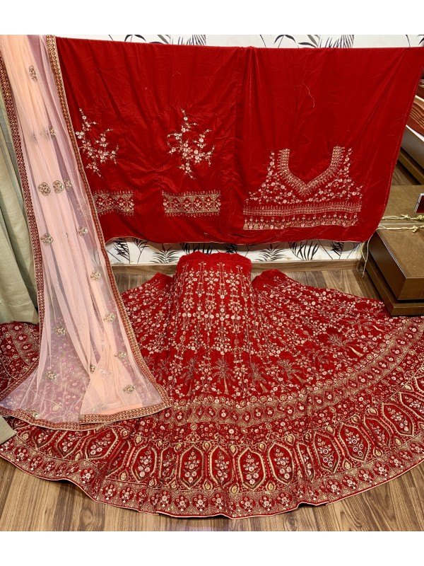 Pure Micro Velvet Wedding In Red With Embroidery & Stone Work