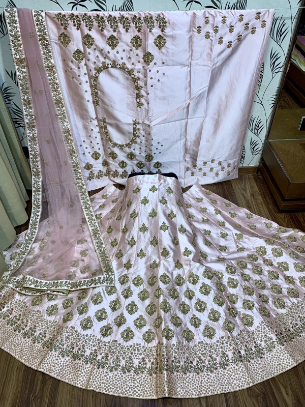 Shadow Silk Party Wear Lehenga In Light Pink With Embroidery & Pearl Work