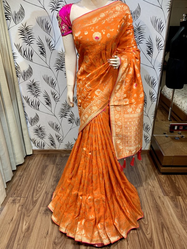 Pure Natural Dola Silk Wedding Wear Saree In Mustard with Embroidery Work