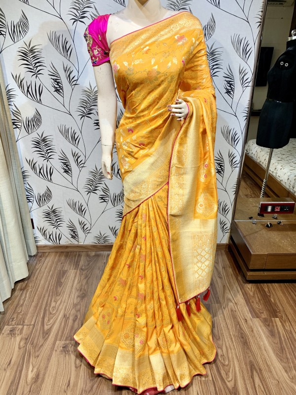 Pure Natural Dola Silk Wedding Wear Saree In Yellow with Embroidery Work