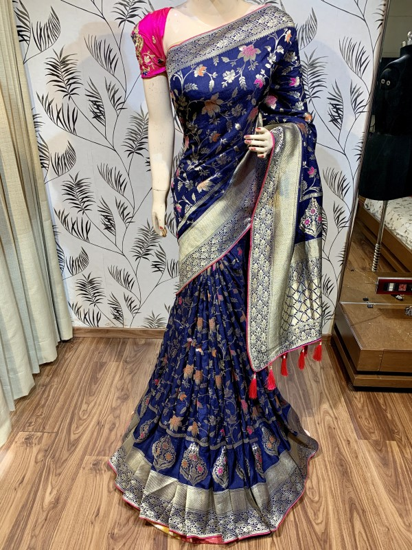 Pure Natural Dola Silk Wedding Wear Saree In Blue with Embroidery Work