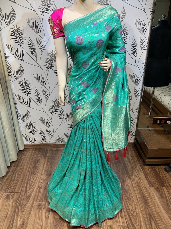 Pure Natural Dola Silk Wedding Wear Saree In Sea Green with Embroidery Work
