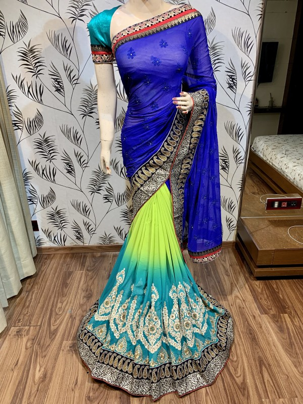 Georgette Silk Party Wear Saree In Blue Embroidery Work & Crystal Stone work