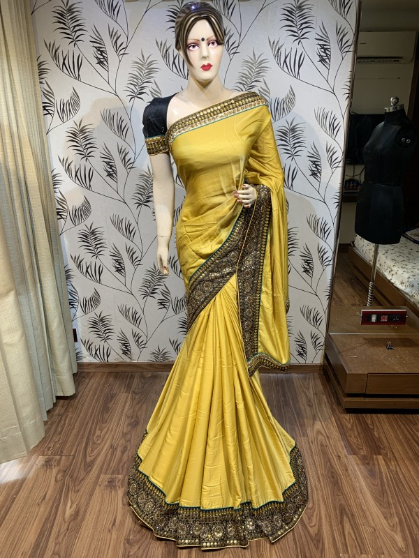 Metallic Silk Party Wear Saree In Yellow Embroidery Work & Crystal Stone work