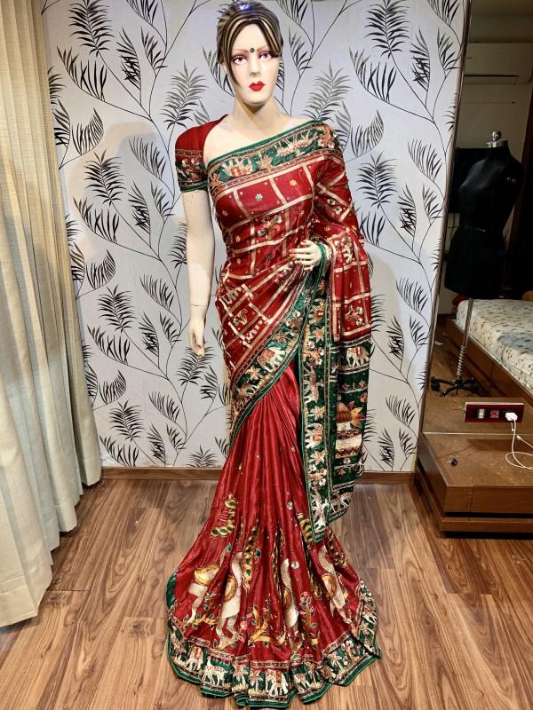 Pure  Gaji Silk Wedding Wear Saree In Red  In Embroidery & Handwork