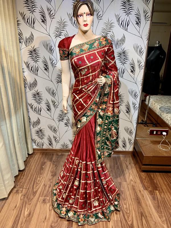 Pure Gaji Silk Wedding Wear Saree In Maroon In Embroidery & Handwork