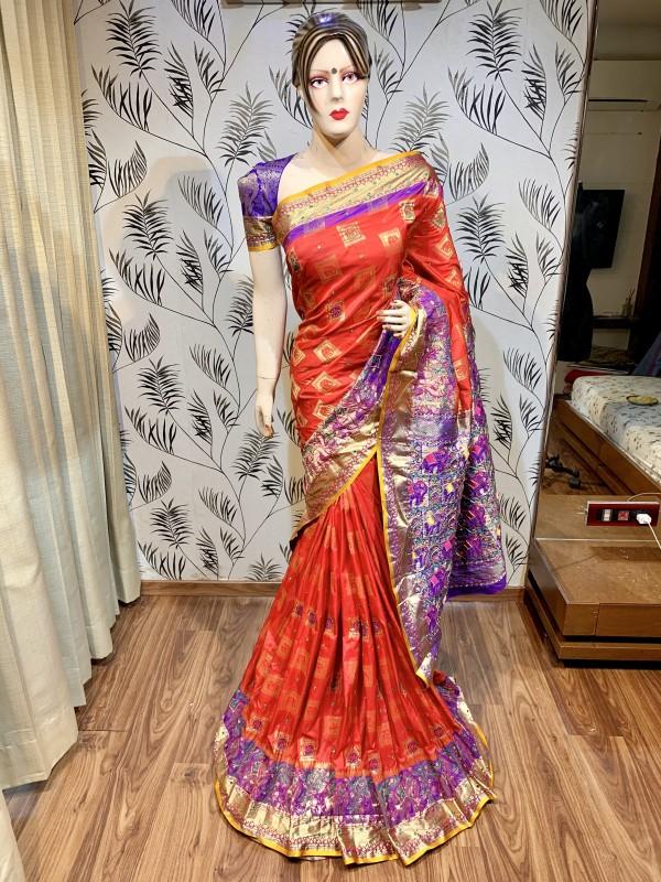 Pure Banarasi Silk Wedding Wear Saree In Maroon In Embroidery & Handwork
