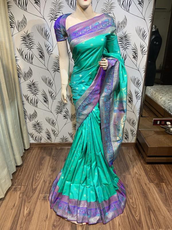Pure Banarasi Silk Wedding Wear Saree In Pastel Green