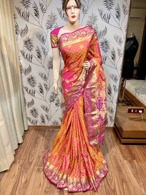 Pure Banarasi Silk Wedding Wear Saree In Orange In Embroidery & Handwork