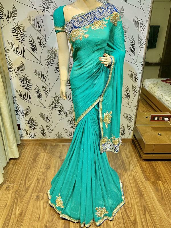 Pure Georgette Wedding Wear Saree In Turquoise In Handwork