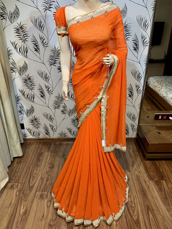 Pure Georgette Wedding Wear Saree In Orange In Handwork