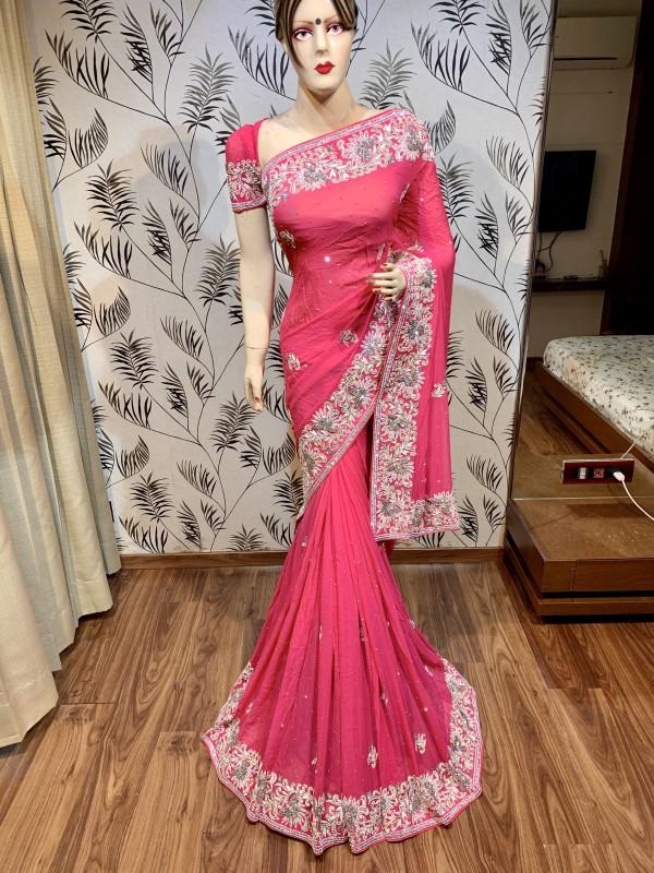 Pure Georgette Wedding Wear Saree In Pink In Handwork
