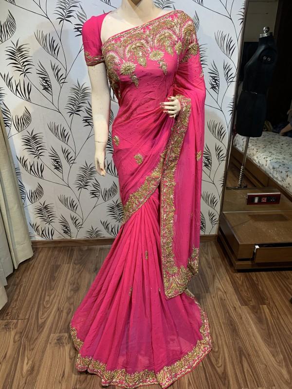 Pure Georgette Wedding Wear Saree In Pink With Handwork
