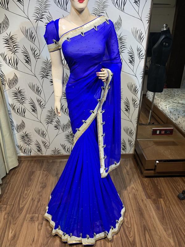 Pure Georgette Wedding Wear Saree In Blue With Handwork