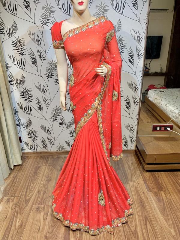Pure Georgette Wedding Wear Saree In Red With Handwork