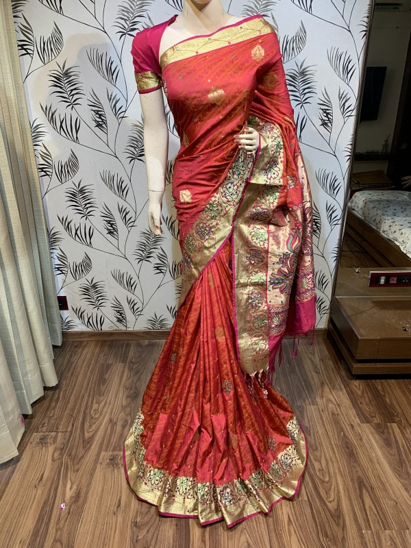 Pure Banarasi Silk Wedding Wear Saree In Red With Handwork