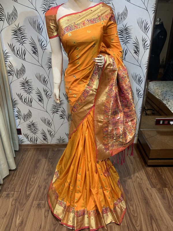 Pure Banarasi Silk Wedding Wear Saree In Yellow With Handwork