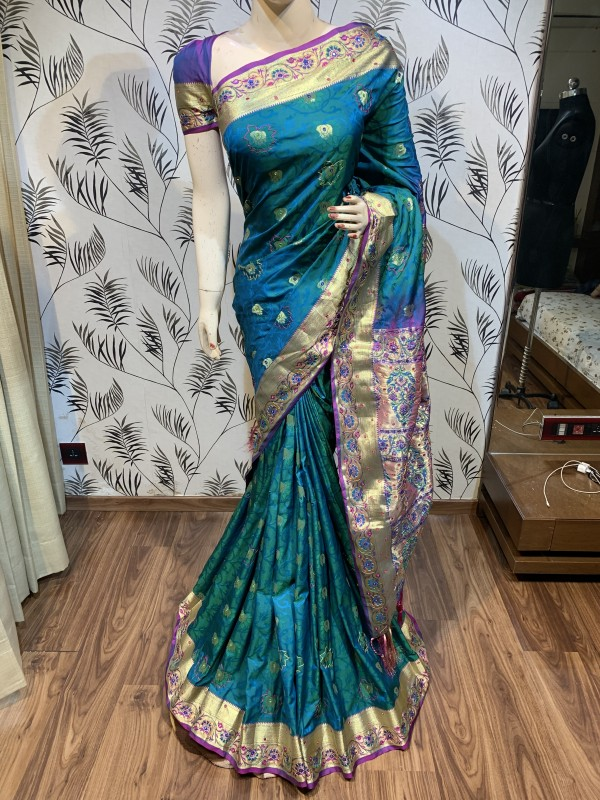 Pure Banarasi Silk Wedding Wear Saree In Turquoise With Handwork