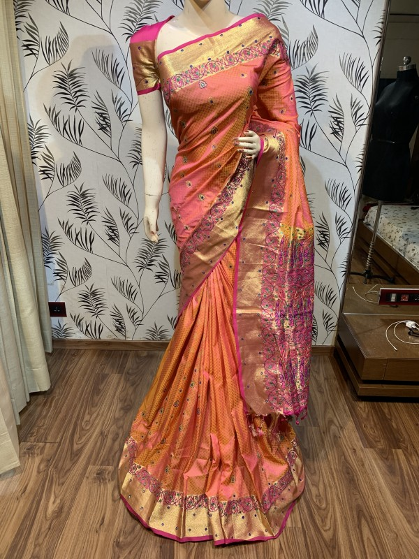 Pure Banarasi Silk Wedding Wear Saree In Light Orange With Handwork