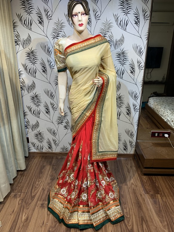 Fancy Imported Fabric Party Wear Saree In Cream & Red Embroidery Work & Crystal Stone Work