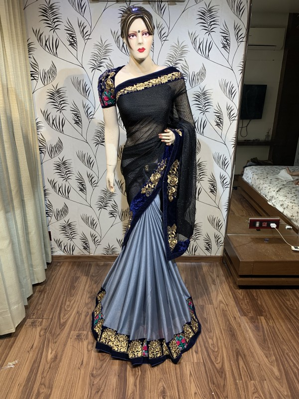 Fancy Imported Fabric Party Wear Saree In Black Embroidery Work & Crystal Stone Work